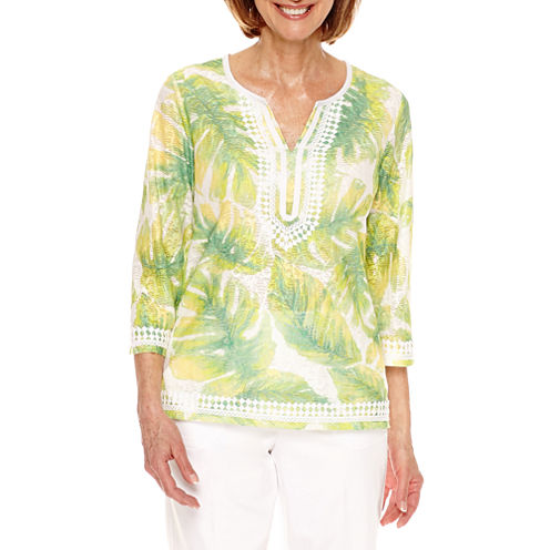 Alfred Dunner Bahama Bays Tunic Top Petites