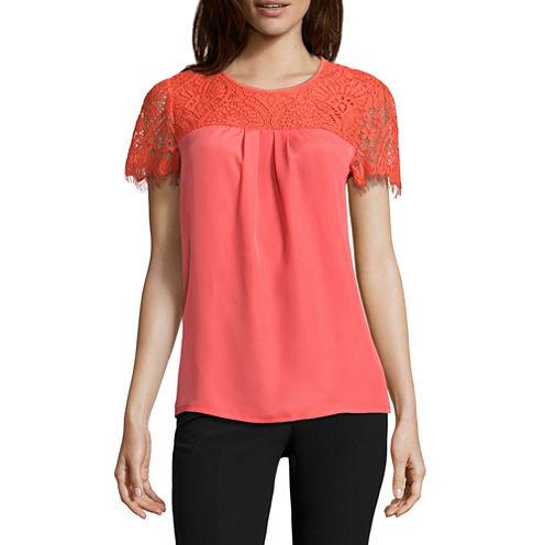 Worthington Short Sleeve Scoop Neck T-Shirt-Womens Petites
