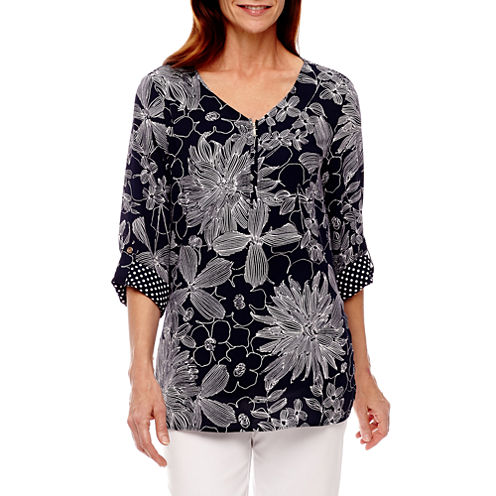 Alfred Dunner Seas The Day 3/4 Sleeve Peasant Top