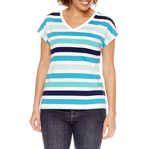 St. John's Bay Short Sleeve V Neck Stripe T-Shirt-Womens Petites