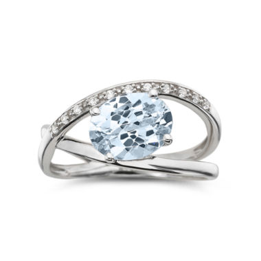 jcpenney.com | Sterling Aquamarine & Lab-Created White Sapphire Crossover Ring