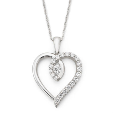 jcpenney.com | DiamonArt® Cubic Zirconia Twisted Heart Pendant Necklace