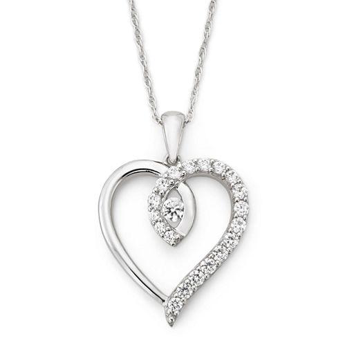 DiamonArt® Cubic Zirconia Twisted Heart Pendant Necklace