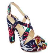 Bakers McCoy Floral Platform Sling Back Sandals