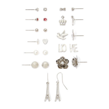 jcpenney.com | Decree® Glass Stone Silver-Tone 12-pr. Floral Earring Set