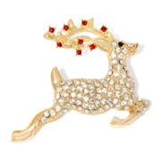 Monet® Crystal Gold-Tone Reindeer Pin