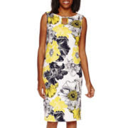 Black Label by Evan-Picone Sleeveless Floral Print Scuba Sheath Dress
