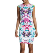 Bisou Bisou® Cap-Sleeve Print Laser Cut Sheath Dress