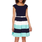 Tiana B. Cap-Sleeve Colorblock Fit-and-Flare Dress