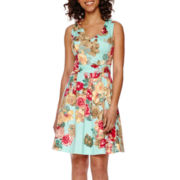 Tiana B. Sleeveless Floral Fit-and-Flare Dress