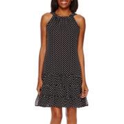 R&K Originals® Sleeveless Polka Dot Tiered Shift Dress