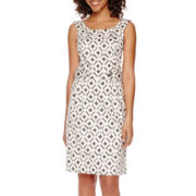 Robbie Bee® Sleeveless Print Sheath Dress