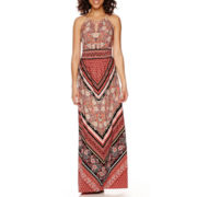 London Style Collection Sleeveless Halter Print Maxi Dress