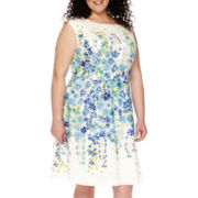 Studio 1® Sleeveless Lace Print Fit-and-Flare Dress - Plus