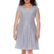 Katherine H® Cap-Sleeve Jacquard Fit-and-Flare Dress - Plus