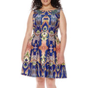 Danny & Nicole® Sleeveless Scuba Fit-and-Flare Dress - Plus