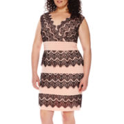 Sangria Sleeveless Lace Sheath Dress - Plus