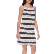 Perceptions Sleeveless Keyhole Lace Stripe Sheath Dress - Petite