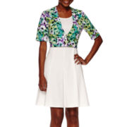Perceptions Short-Sleeve Zipper Jacket Dress - Petite