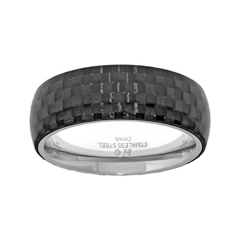 Mens Stainless Steel Band Ring with Carbon Fiber