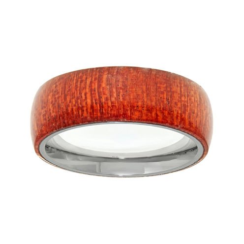 Mens Stainless Steel & Wood Band