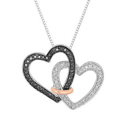 jcpenney.com | 1/3 CT. T.W. White and Color-Enhanced Black Diamond Linked Heart Necklace