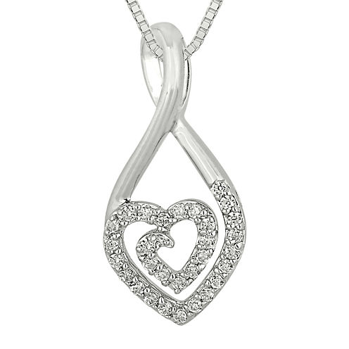 1/5 CT. T.W. Diamond Sterling Silver Heart Teardrop Pendant Necklace