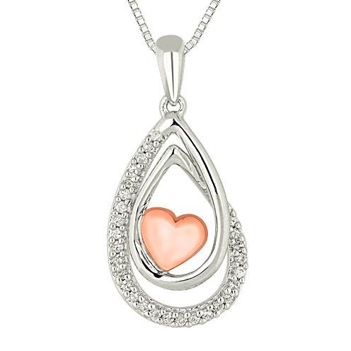 1/10 CT. T.W. Diamond Sterling Silver & 10K Rose Gold Heart Teardrop Pendant Necklace