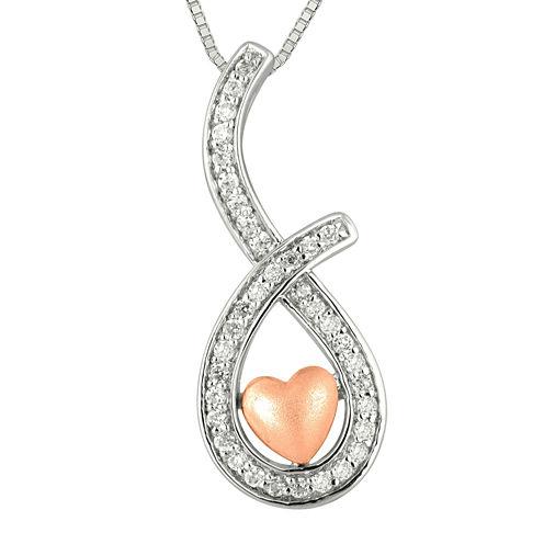 1/4 CT. T.W. Diamond Sterling Silver & 10K Rose Gold Heart Teardrop Pendant