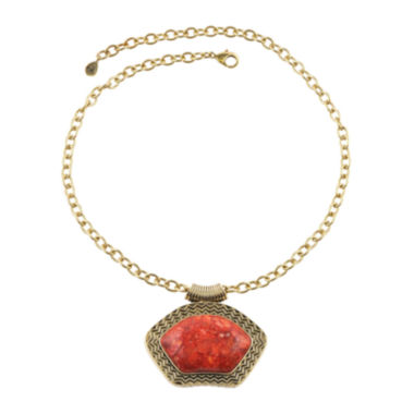 jcpenney.com | Art Smith by BARSE Red Sponge Coral Gold Over Brass Pendant Necklace
