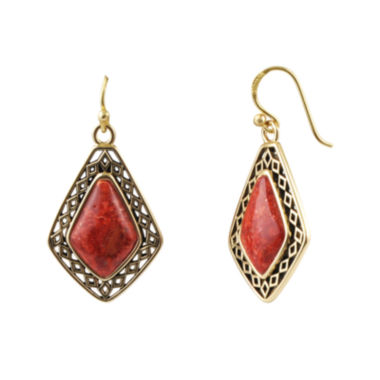 jcpenney.com | Art Smith by BARSE Genuine Red Sponge Coral Drop Earrings