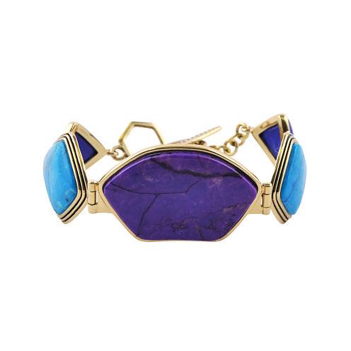 Art Smith by BARSE Purple and Aqua Howlite Brass Bracelet