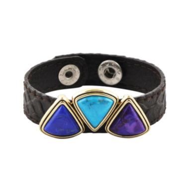 jcpenney.com | Art Smith by BARSE Multicolor Howlite Brass & Leather Bracelet
