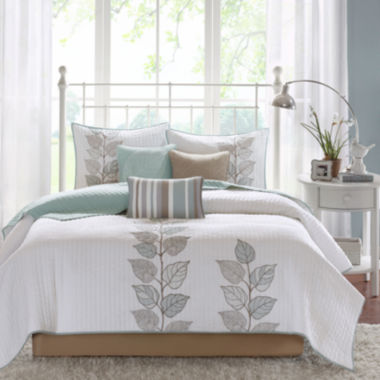 jcpenney.com | Madison Park Rochelle Embroidered Leaf 6-pc. Quilt Set