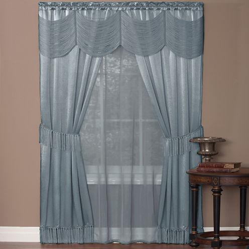Halley 6-pc. Sheer Rod-Pocket Curtain Set