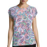 Liz Claiborne® Short-Sleeve Overlap-Front Blouse - Petite