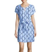 Liz Claiborne® Short-Sleeve Caftan Dress - Petite
