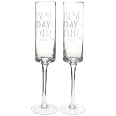 jcpenney.com | Cathy's Concepts Best Day Ever Set of 2 Personalized Contemporary Champagne Flutes