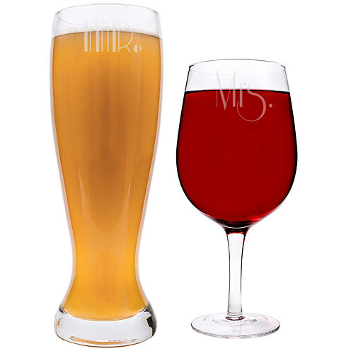 Cathy's Concepts Mr. & Mrs. Gatsby XL Beer and Wine Glass Set