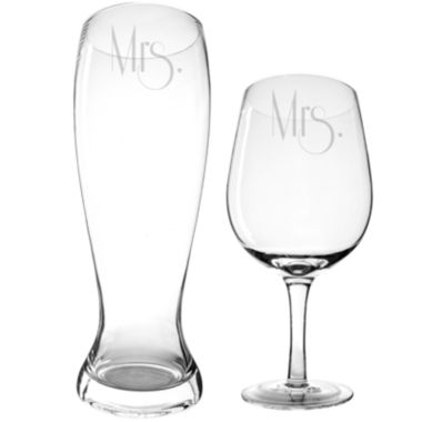 jcpenney.com | Cathy's Concepts Mrs. & Mrs. Gatsby XL Beer and Wine Glass Set