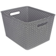 "Home Basics 16"" Rattan Plastic Storage Basket"
