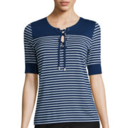 Liz Claiborne® Elbow-Sleeve Stripe Lace-Up Knit Top