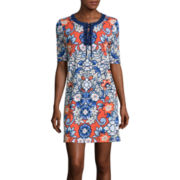 Liz Claiborne® Elbow-Sleeve Lace-Up Printed Knit Dress