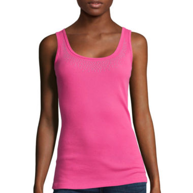 jcpenney.com | St. John's Bay® Embellished Cotton Tank Top