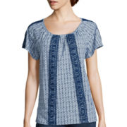 St. John's Bay® Crochet Peasant Top - Tall
