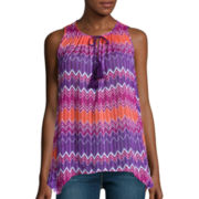 Stylus™ Pleated Tassel Tank Top