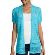 St. John's Bay® Short-Sleeve Pointelle Crochet Flyaway Cardigan