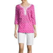St. John's Bay® 3/4-Sleeve Embroidered Tunic or Secretly Slender Bermuda Shorts