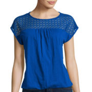 St. John's Bay® Short-Sleeve Eyelet Yoke Top - Petite