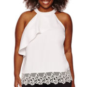 Worthington® Lace Hem Halter Top - Plus